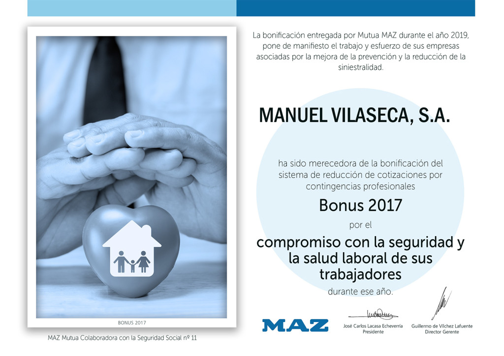 Diploma Bonus 2017 MANUEL VILASECA, S.A.